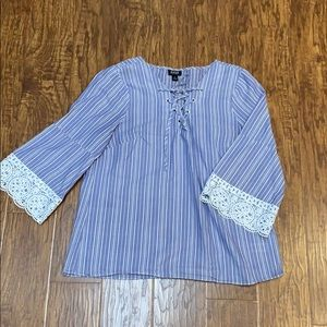 Blue and white lace up front bell sleeve top M